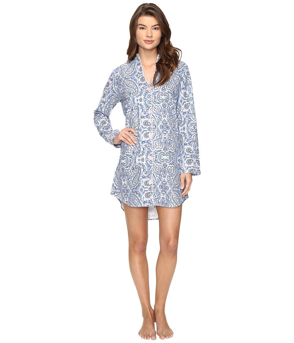 BedHead - Long Sleeve Mandarin Collar Nightshirt (Indigo Boho Paisley) Women's Pajama