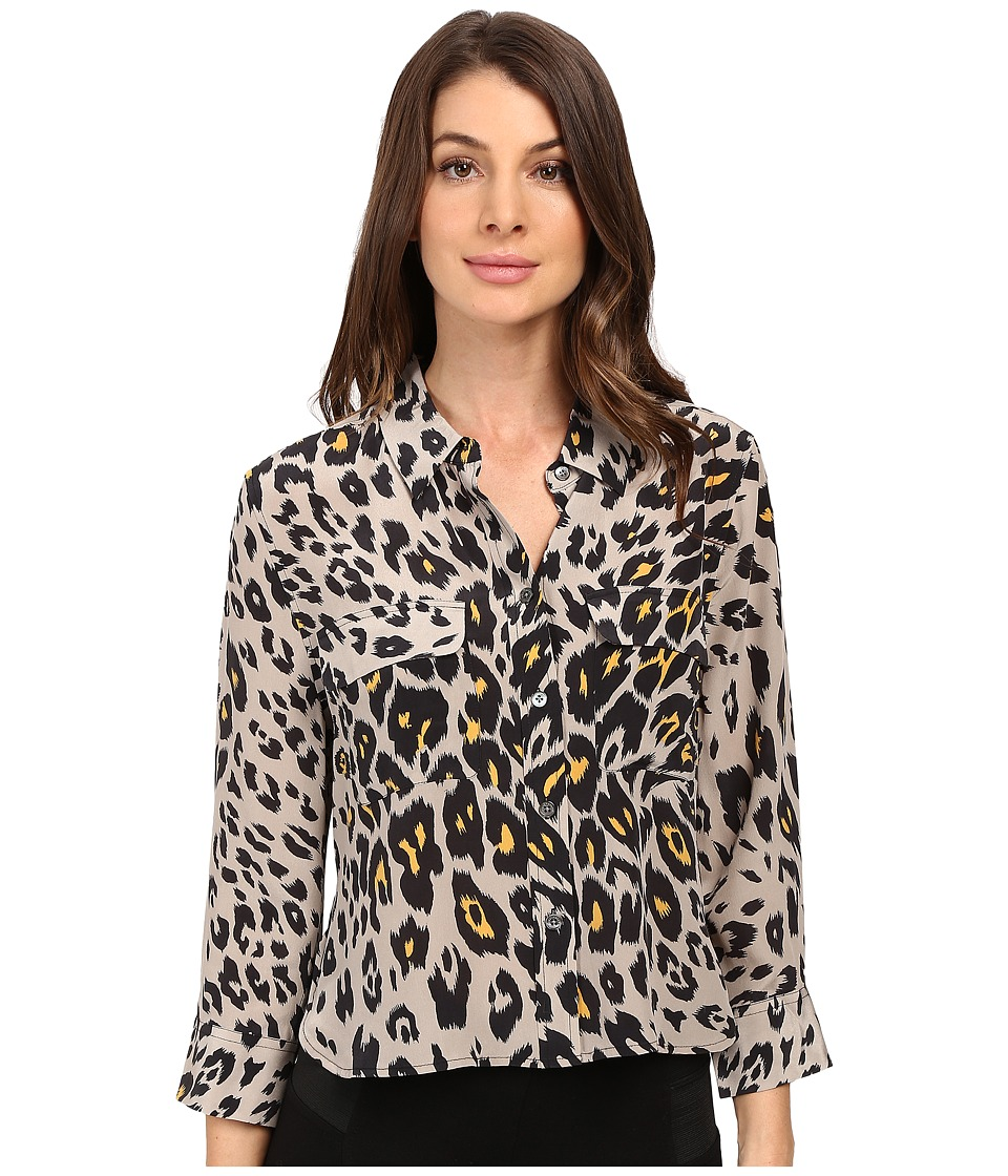 EQUIPMENT - Cropped 3/4 Sleeve Signature Blouse (Fawn) Women's Blouse