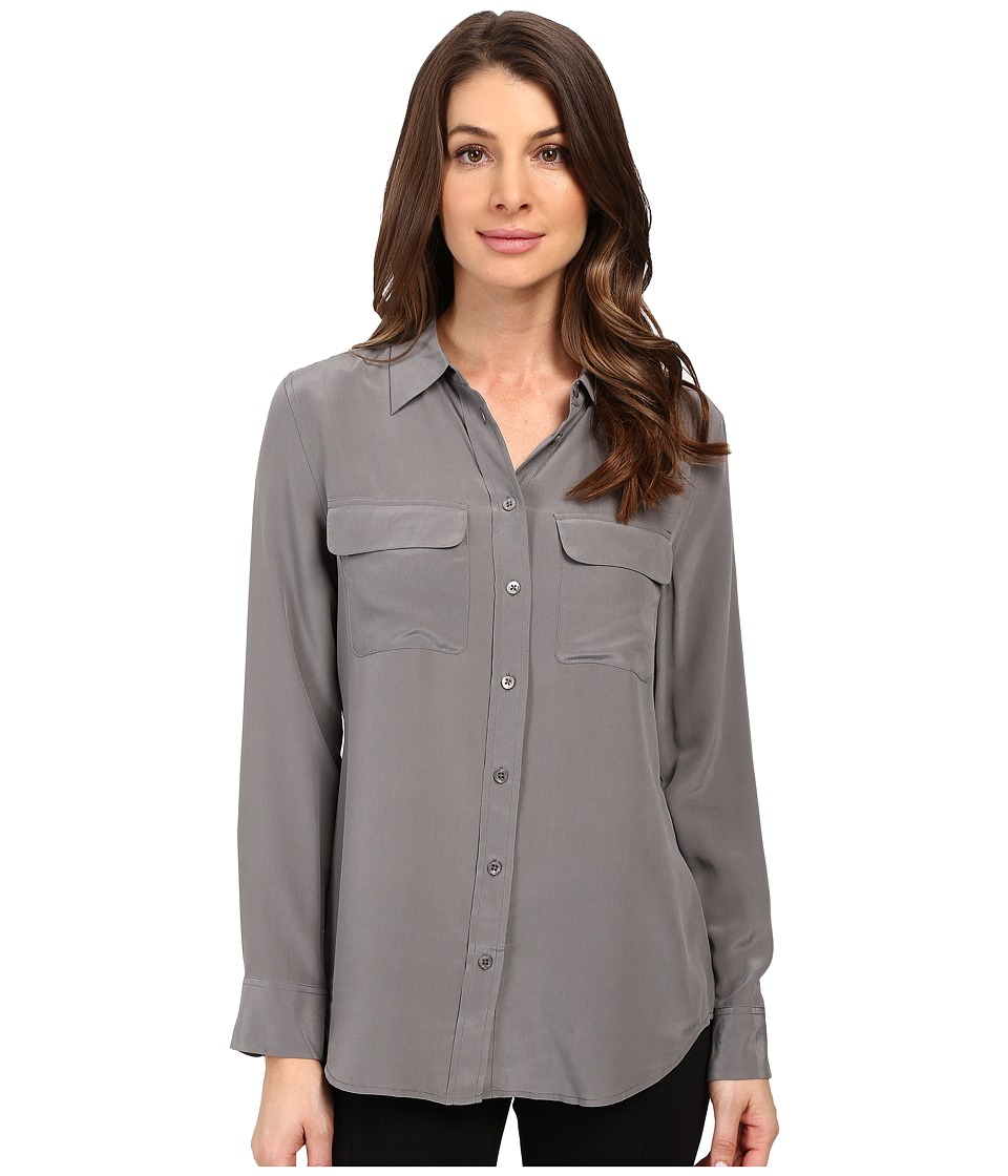 EQUIPMENT - Slim Signature Blouse (Gunmetal) Women's Blouse