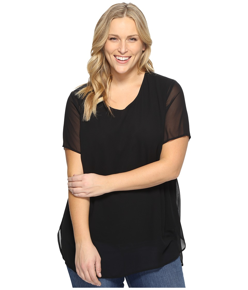 Vince Camuto Specialty Size - Plus Size Short Sleeve Crew Neck Chiffon Overlay Blouse (Rich Black) Women's Clothing