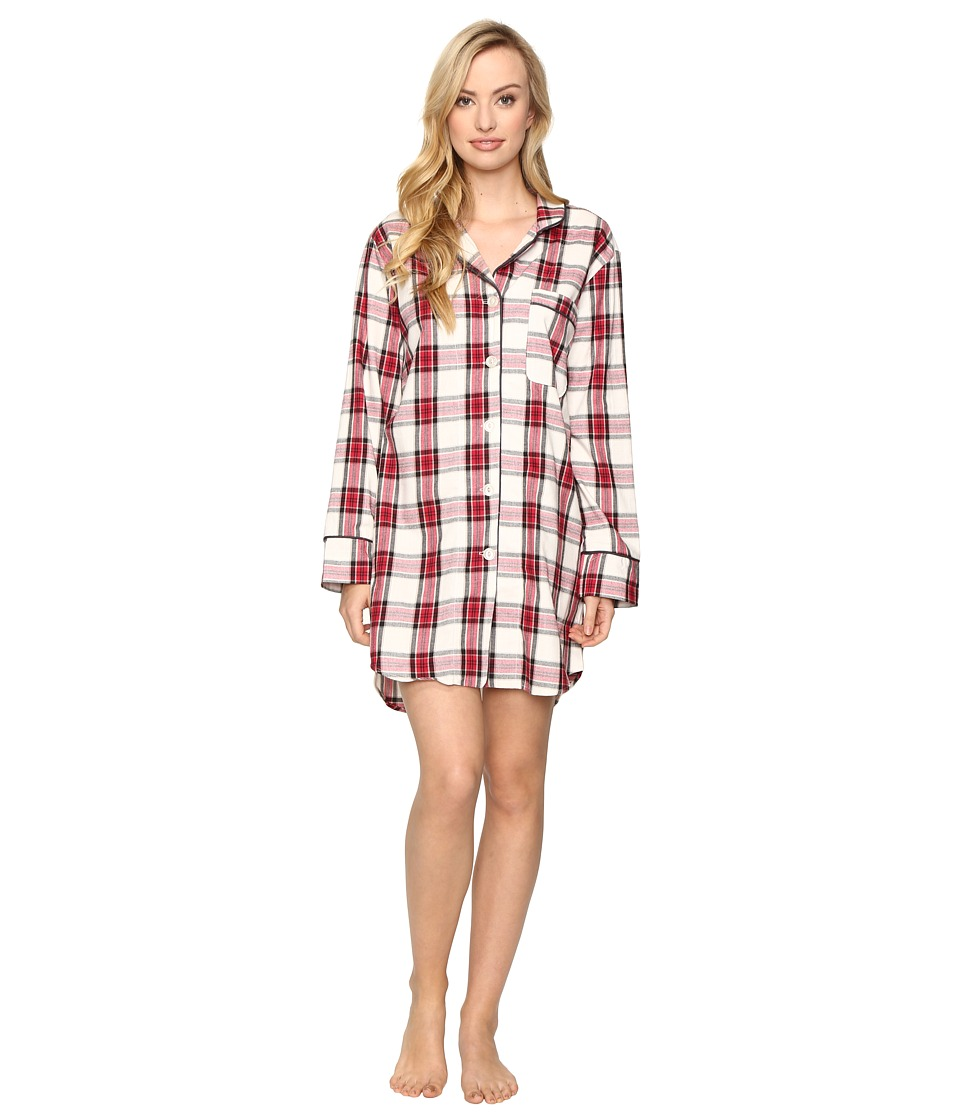 BedHead - Long Sleeve Classic Nightshirt (Red Winter Plaid) Women's Pajama