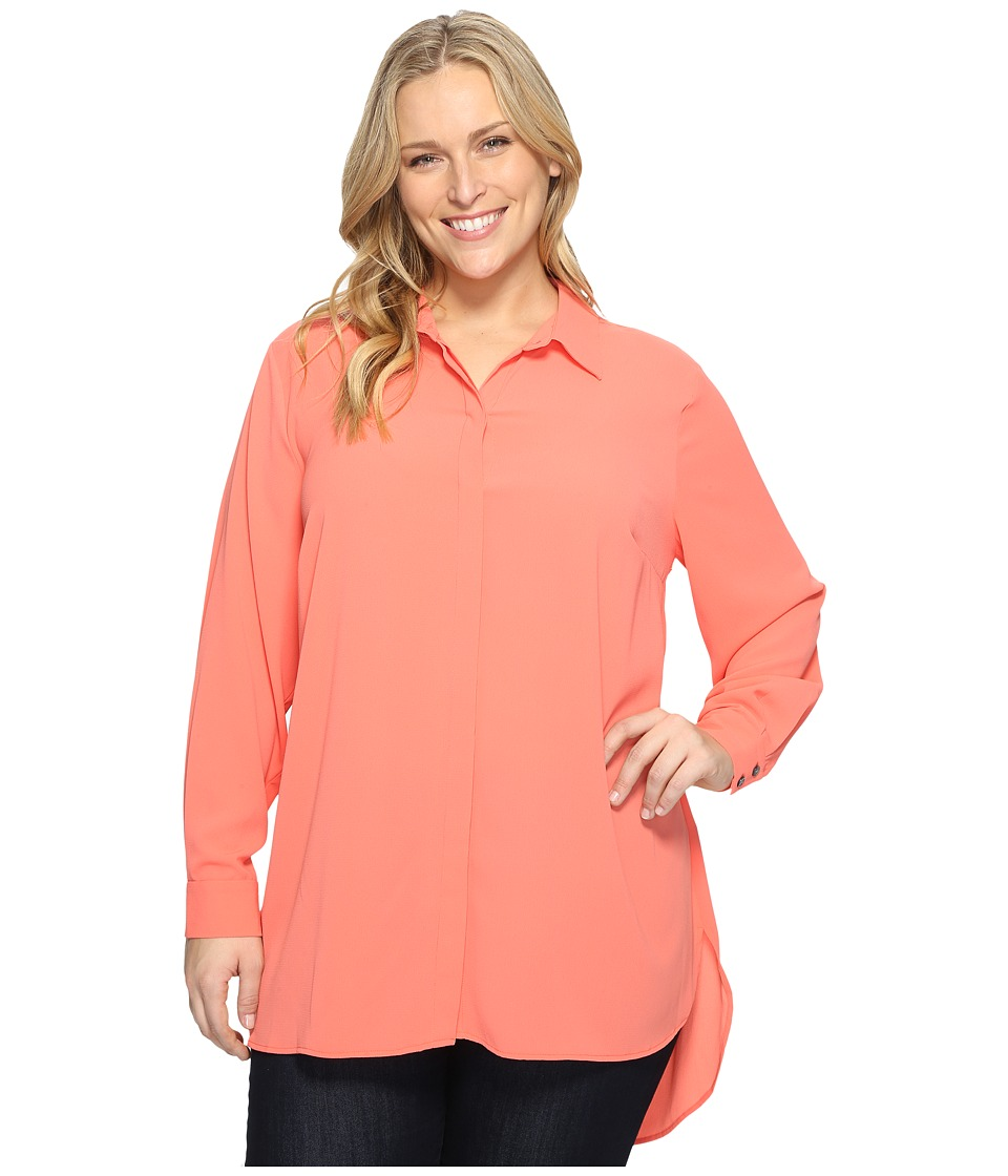 Vince Camuto Specialty Size - Plus Size Long Sleeve Button Up Collared Tunic (Coral Passion) Women's Clothing