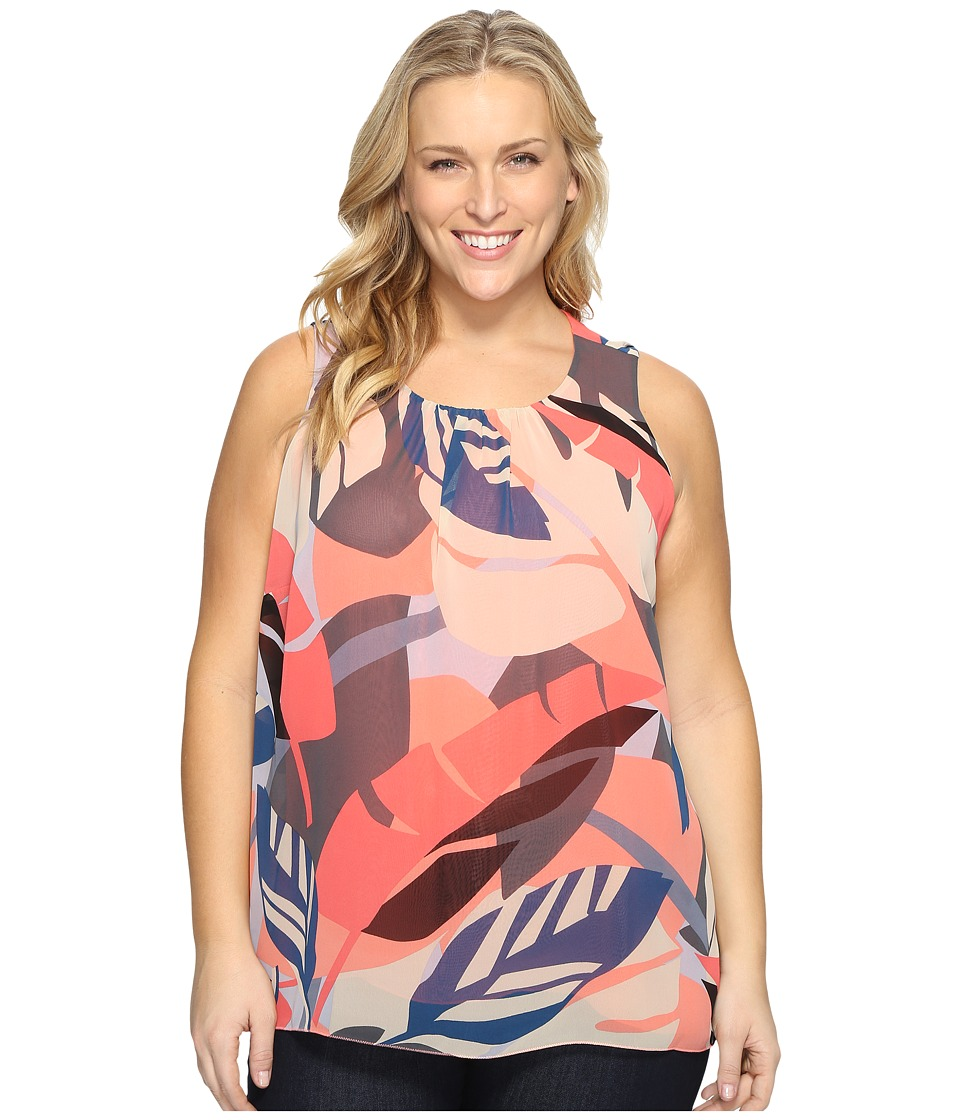 Vince Camuto Specialty Size - Plus Size Sleeveless Modern Tropics Blouse (Coral Passion) Women's Clothing