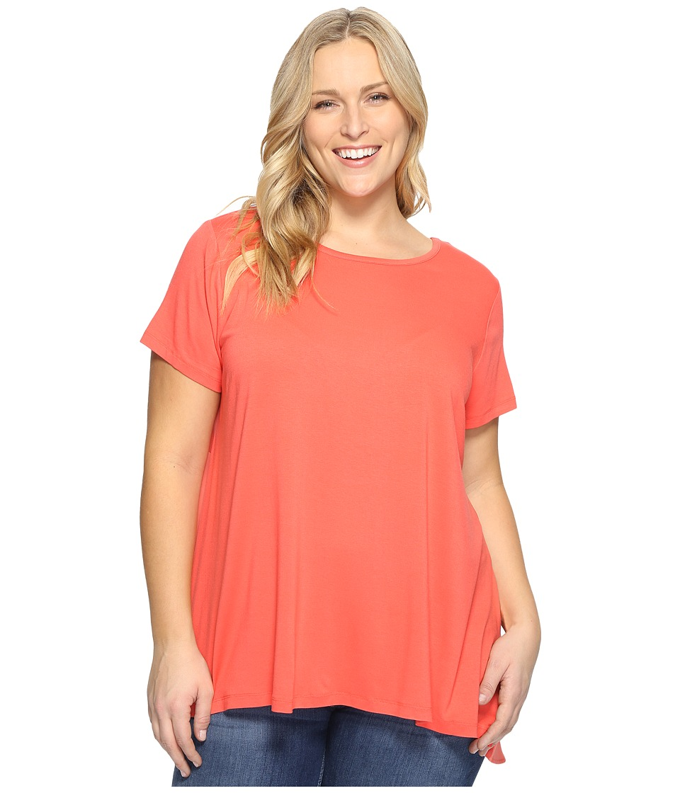 Vince Camuto Specialty Size - Plus Size Short Sleeve High-Low Hem Mix Media Top (Coral Passion) Women's Clothing