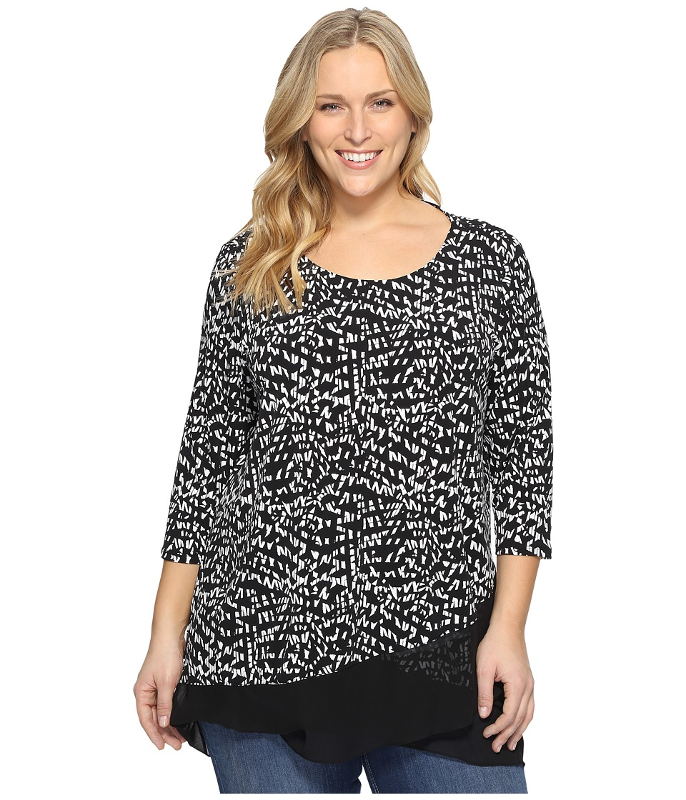 Vince Camuto Specialty Size - Plus Size 3/4 Sleeve Asymmetrical Mosaic Glimpses Top (Rich Black) Women's Clothing