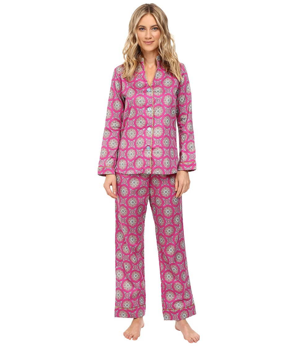 BedHead - Long Sleeve Mandarin Collar Pajama Set (Fuchsia Road to Morocco) Women's Pajama Sets