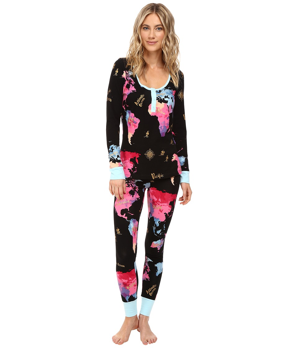 BedHead - Long Sleeve Classic Henley Pajama Set (Bon Voyage) Women's Pajama Sets