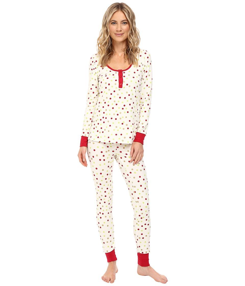 Image of BedHead - Long Sleeve Classic Henley Pajama Set (Holiday Dot) Women's Pajama Sets