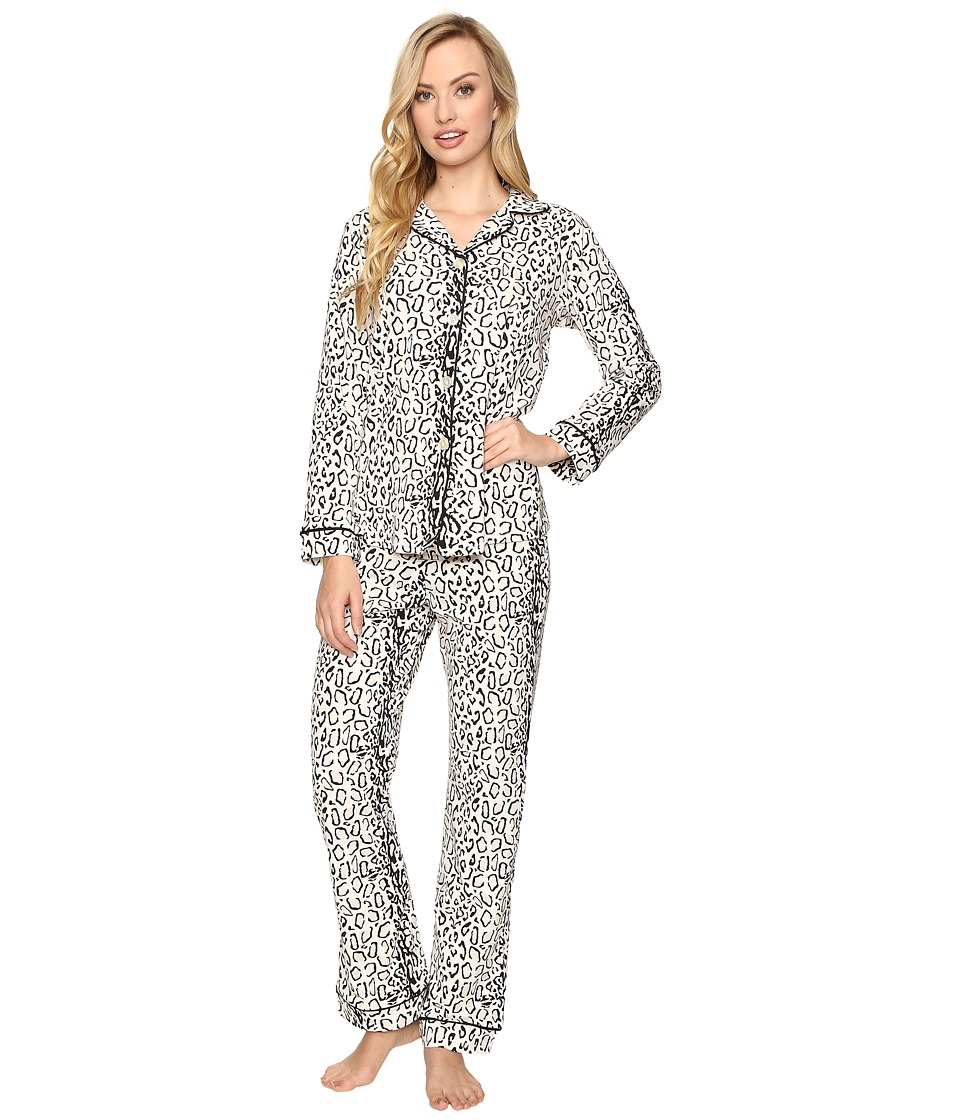 BedHead - Long Sleeve Classic Pajama Set (Ivory Gray Mighty Jungle) Women's Pajama Sets