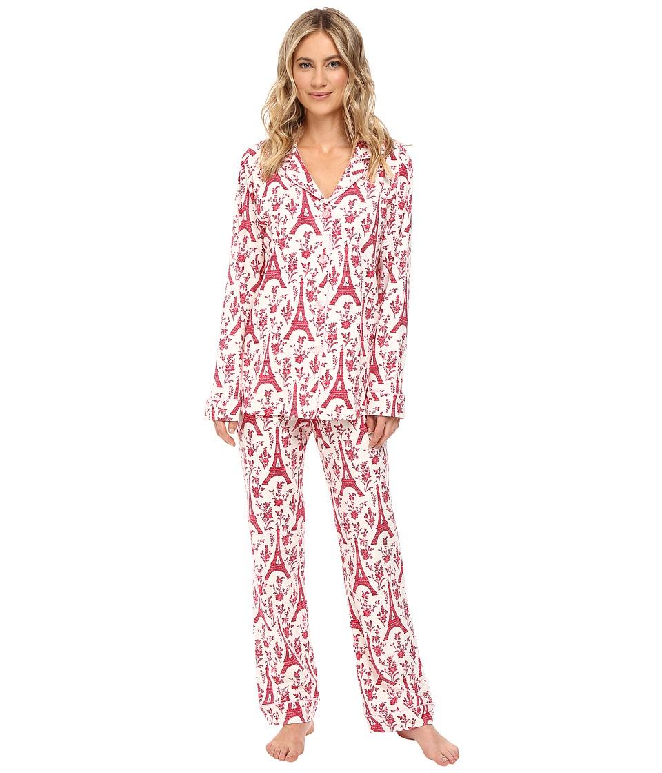 BedHead - Long Sleeve Classic Pajama Set (Pointsettia Eiffel) Women's Pajama Sets
