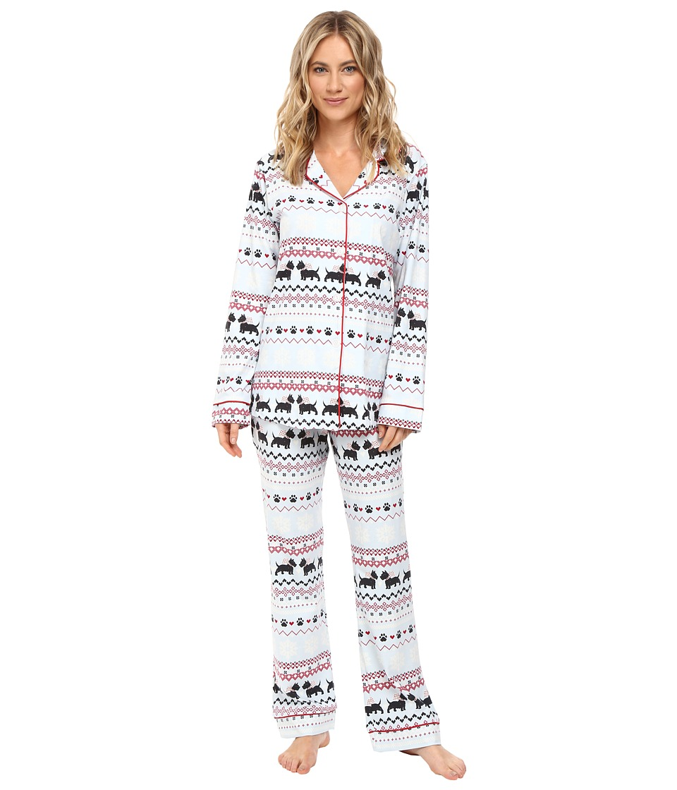BedHead - Long Sleeve Classic Pajama Set (Scottie Fair Isle) Women's Pajama Sets