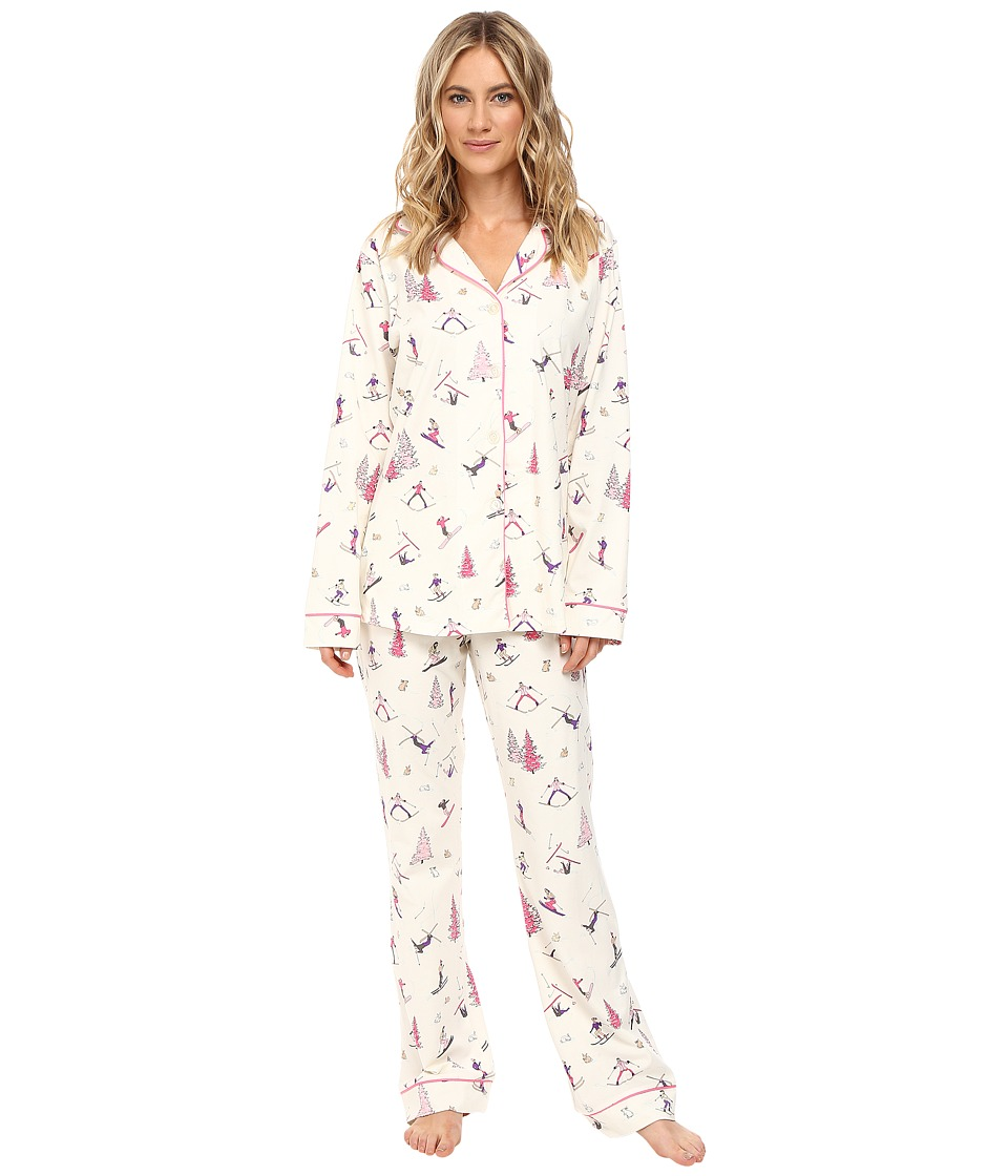 BedHead - Long Sleeve Classic Pajama Set (Pink Ski Bunnies) Women's Pajama Sets