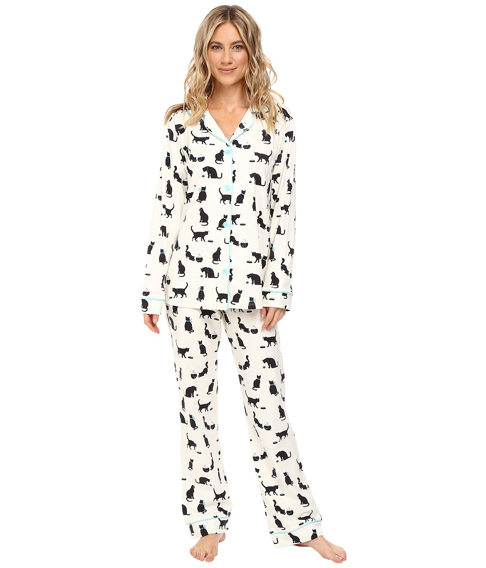 BedHead - Long Sleeve Classic Pajama Set (Tiffany's Cat) Women's Pajama Sets