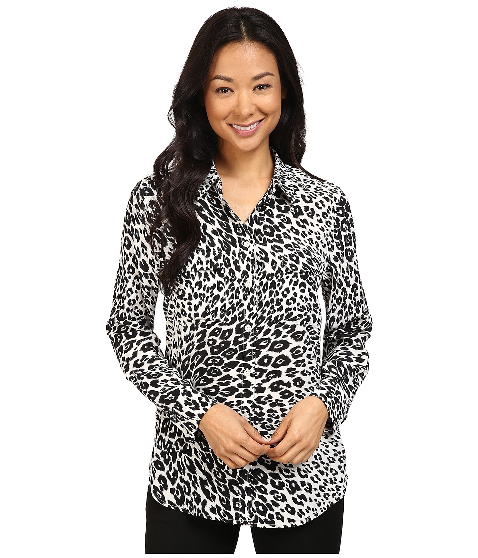 EQUIPMENT - Slim Signature Blouse (Nature White/True Black) Women's Blouse