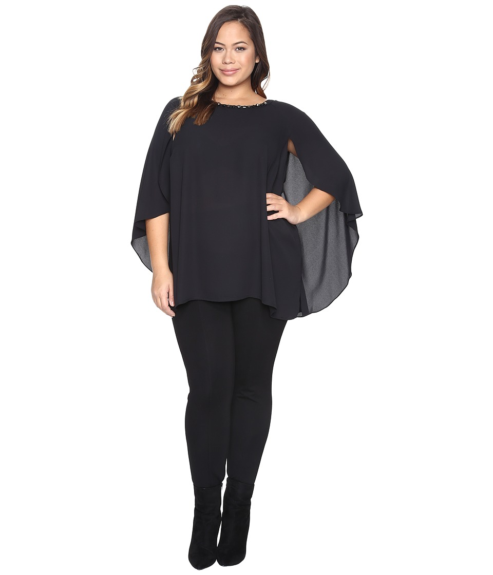 Vince Camuto Specialty Size - Plus Size Cape Blouse with Embellished Neck (Rich Black) Women's Clothing