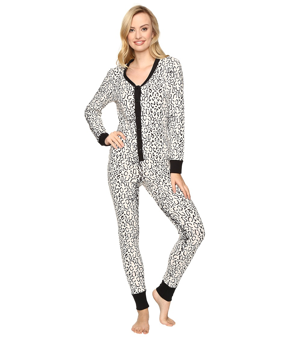 BedHead - Long Sleeve Classic One-Piece (Ivory Gray Mighty Jungle) Women's Jumpsuit & Rompers One Piece