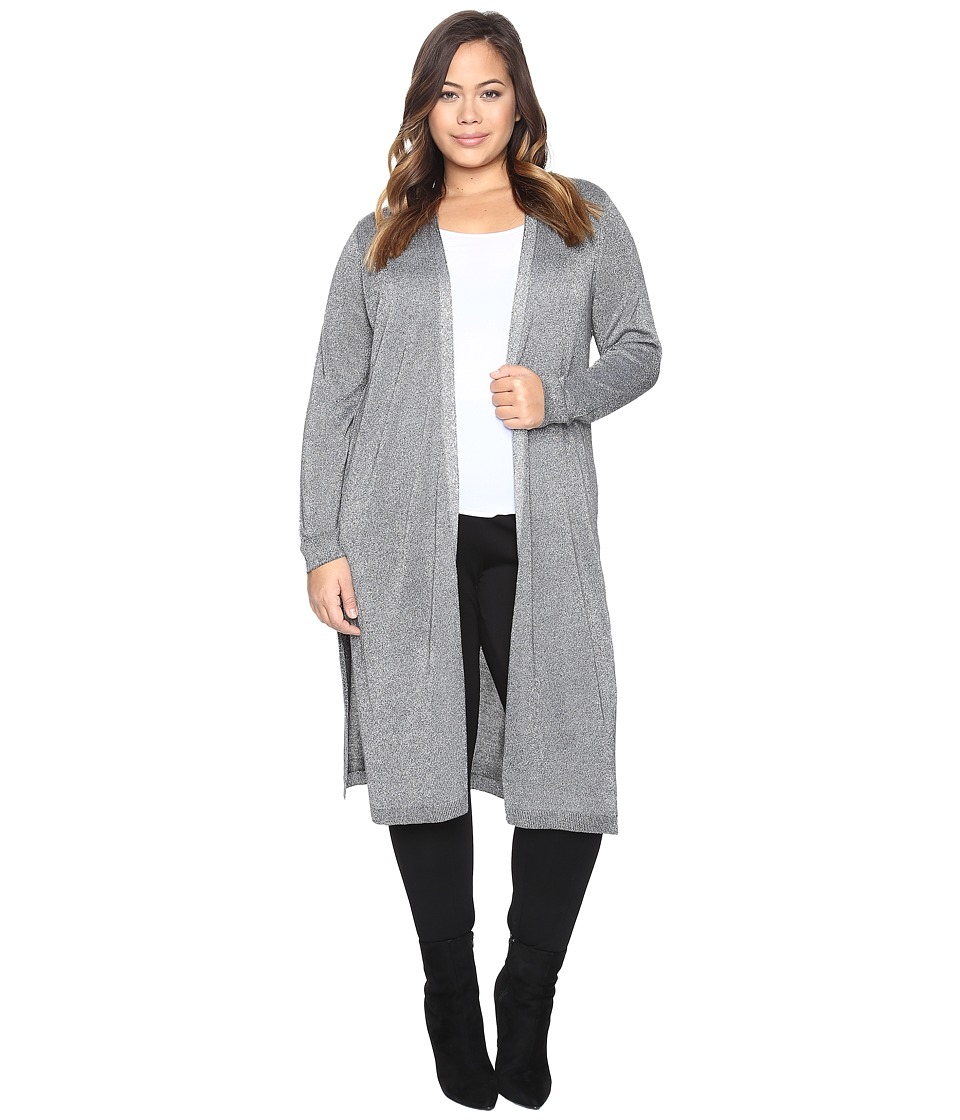 Vince Camuto Specialty Size - Plus Size Long Sleeve Lurex Maxi Cardigan (Medium Heather Grey) Women's Sweater