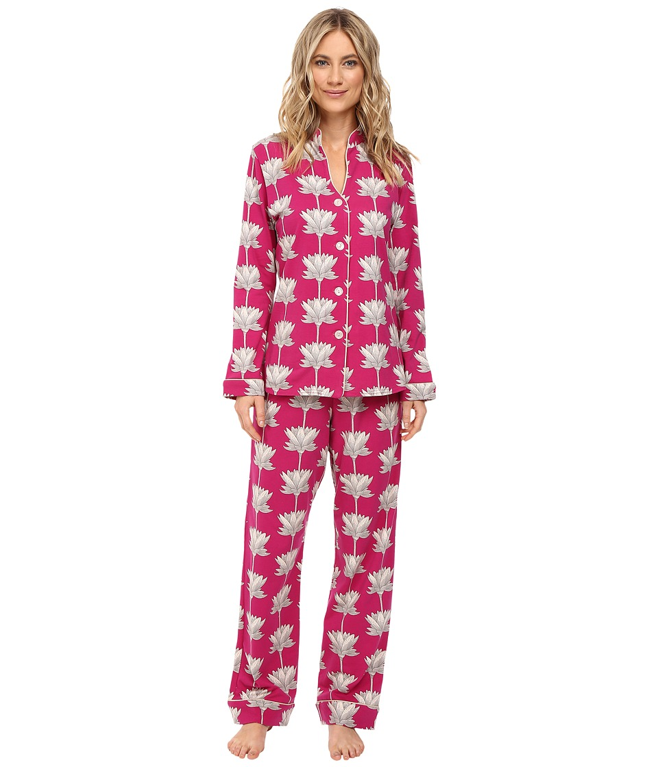 BedHead - Long Sleeve Mandarin Collar Pajama Set (Lotusland) Women's Pajama Sets