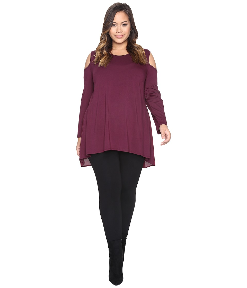 Vince Camuto Specialty Size - Plus Size Long Sleeve Mix Media Cold-Shoulder Top (Cabernet) Women's Clothing
