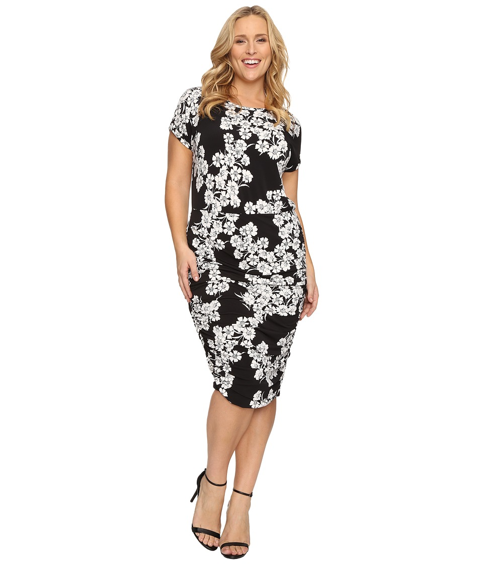 Vince Camuto Specialty Size - Plus Size Short Sleeve Petal Cascade Ruched Dress (Rich Black) Women's Dress
