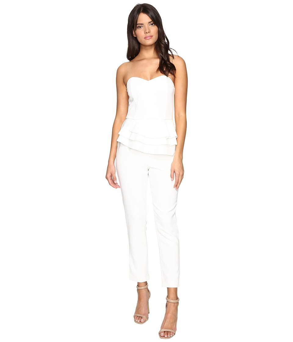 Adelyn Rae - Tube Jumpsuit with Ruffle Peplum (Winter White) Women's Jumpsuit & Rompers One Piece