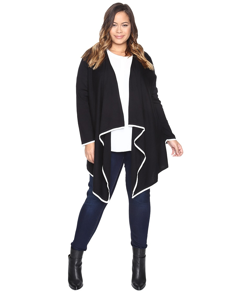 Vince Camuto Specialty Size - Plus Size Long Sleeve Drape Open Front Tipped Sweater Cardigan (Rich Black) Women's Sweater