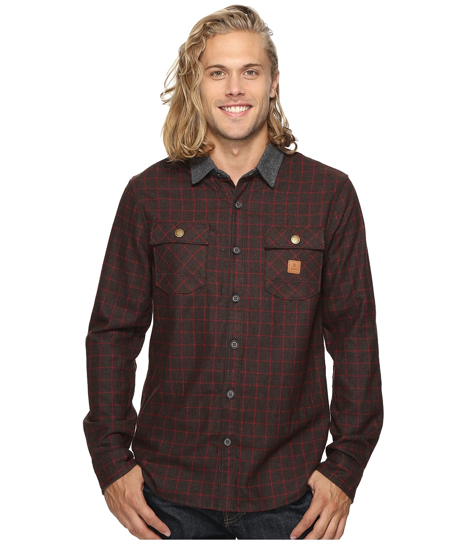 Roark - Nordsman Flannel Long Sleeve Shirt (Brown) Men's Clothing