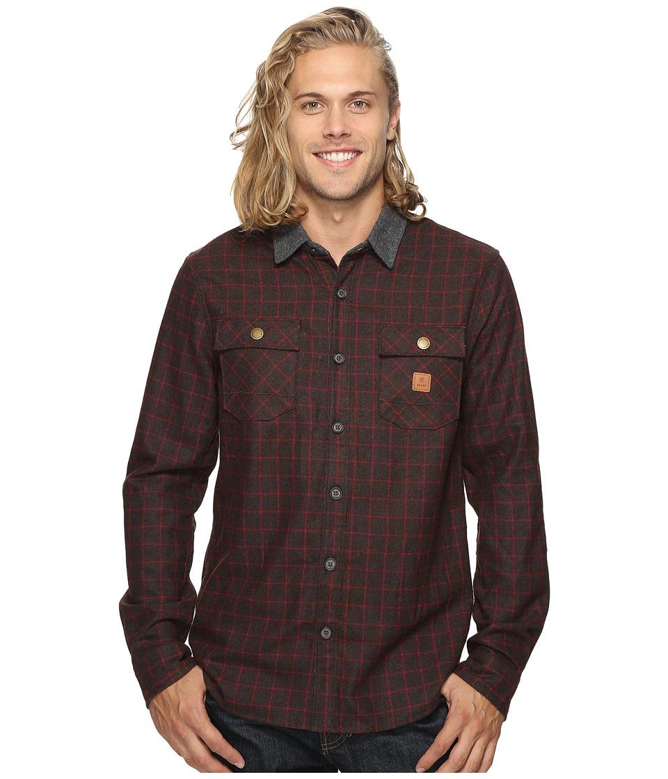 Roark - Nordsman Flannel Long Sleeve Shirt (Brown) Men's Clothing