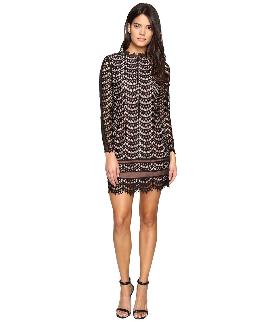 Adelyn Rae - Long Sleeve Lace Dress (Black/Nude) Women's Dress