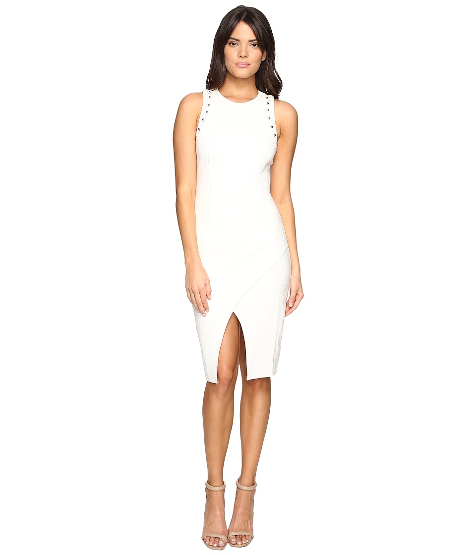 Adelyn Rae - Fitted Dress with Shoulder Studs (Winter White) Women's Dress