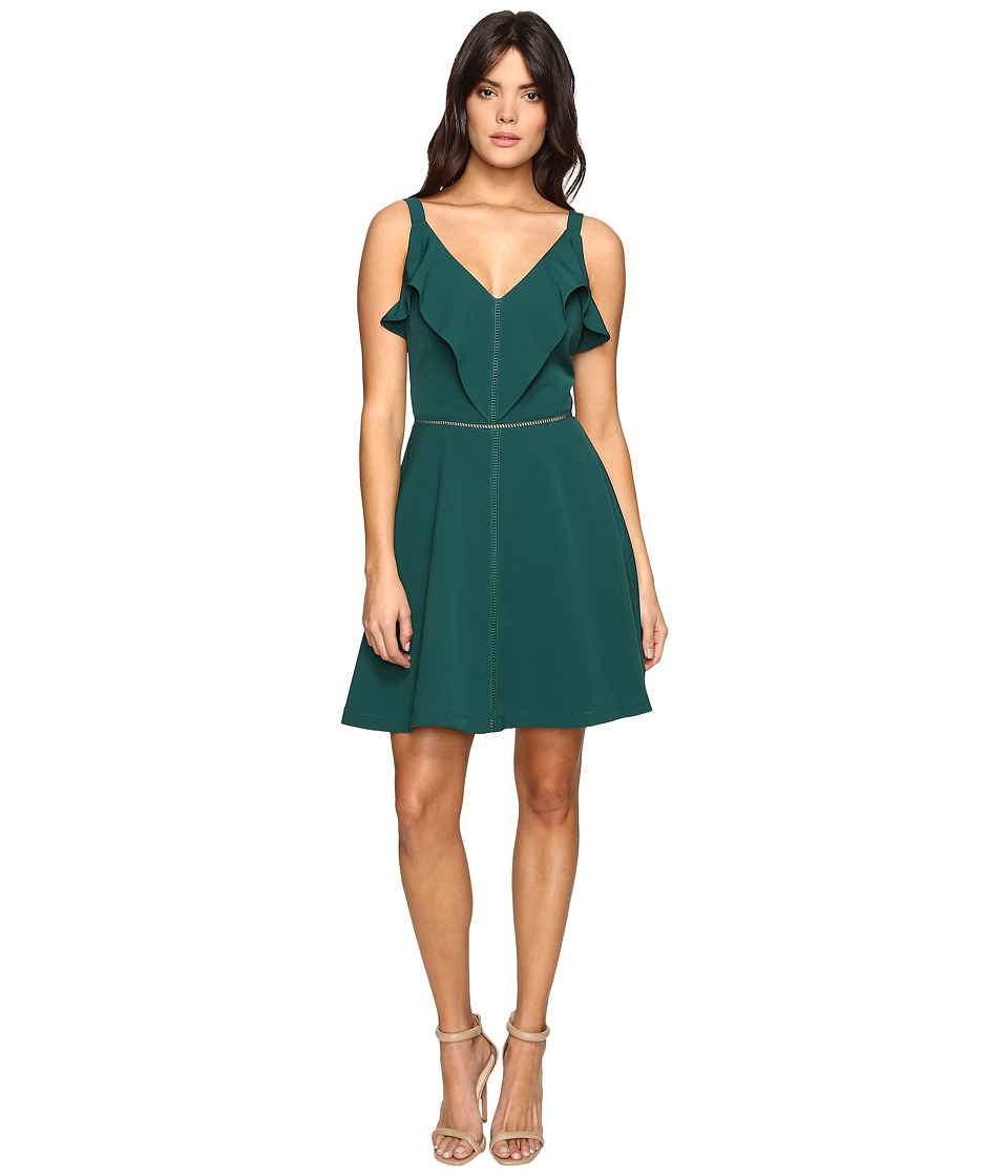Adelyn Rae - Woven Fit and Flare with Top Ruffle (Green) Women's Dress