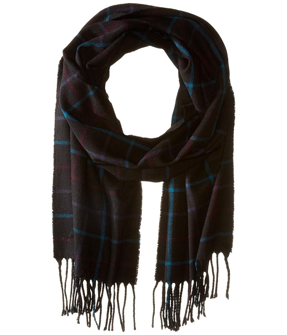 Calvin Klein - Plaid Woven Fringe Scarf (Black) Scarves