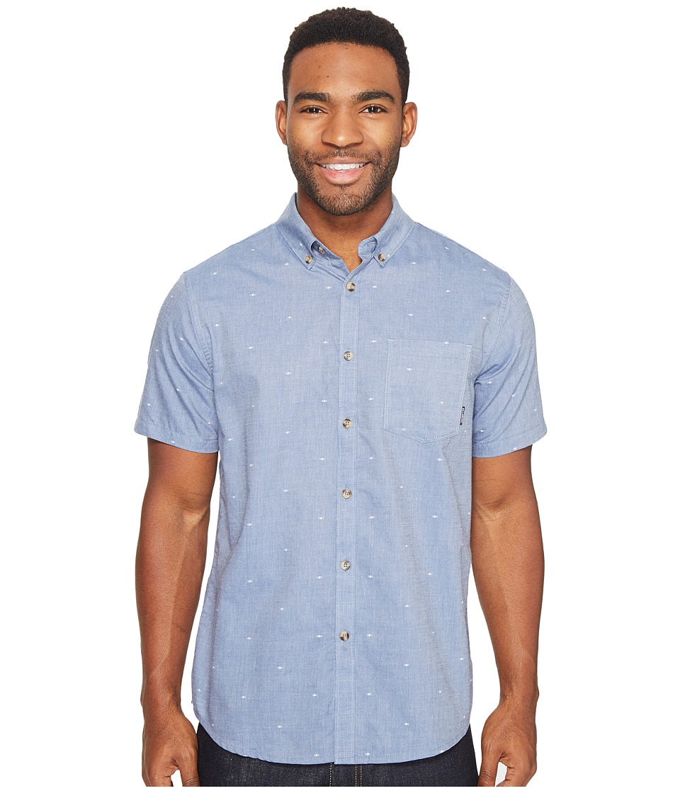 Billabong - Venture Short Sleeve Woven Top (Blue) Men's Clothing