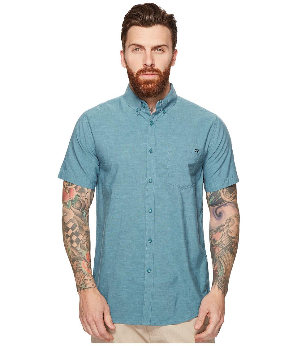 Billabong - All Day Chambray Short Sleeve Woven Top (Aquatic Blue) Men's Clothing