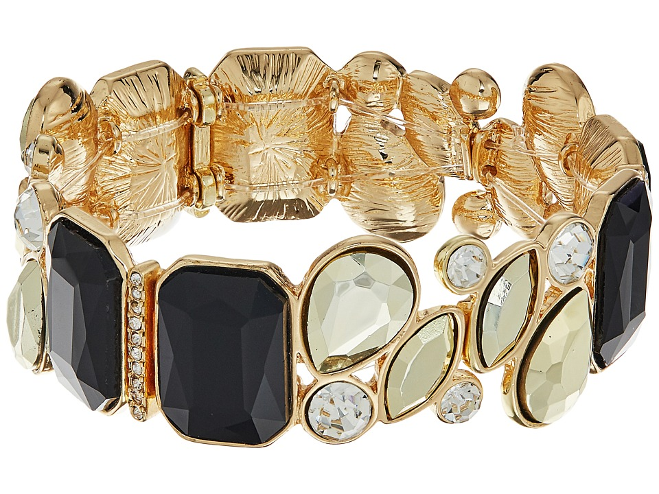 GUESS - Mixed Stone Stretch Bracelet (Jet/Gold/Crystal) Bracelet