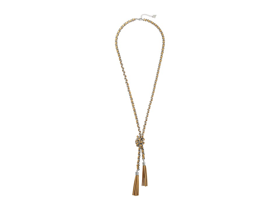 GUESS - Faux Suede Woven Knot Neck with Tassel Necklace (Silver/Tan) Necklace