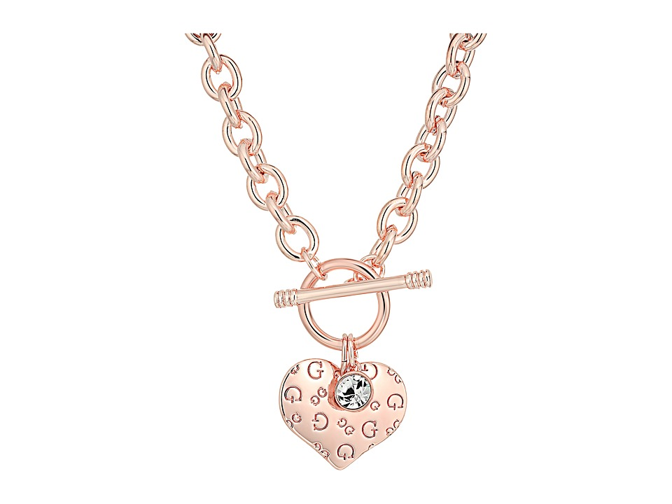 GUESS - Logo Heart Charm Toggle Necklace (Rose Gold/Crystal) Necklace