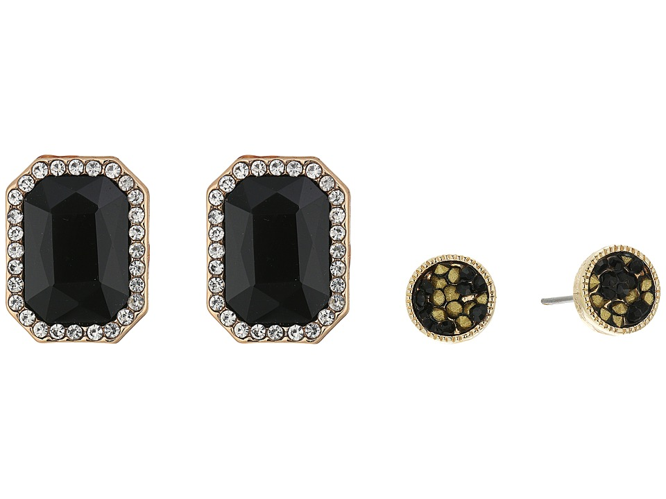 GUESS - Rectangular Stone and Stone Stud Duo Ear Set Earrings (Gold/Crystal/Jet) Earring