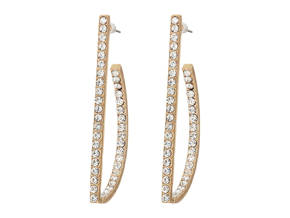 GUESS - Thin Geometric Pave Earrings (Gold/Crystal) Earring