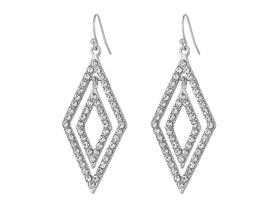 GUESS - Double Geometric Drops On Wire Earrings (Silver/Crystal) Earring