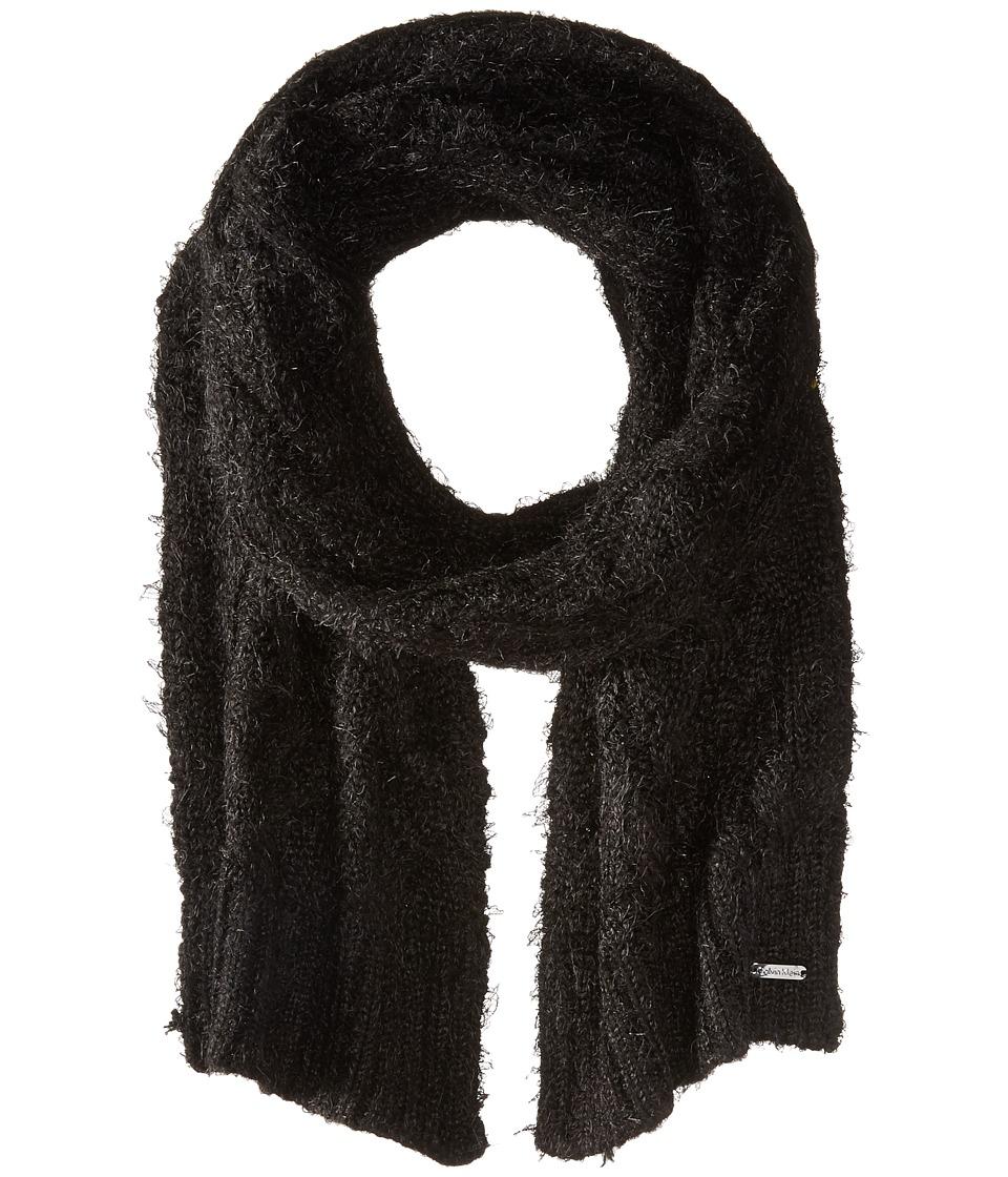 Calvin Klein - Fuzzy Cable Scarf (Black) Scarves