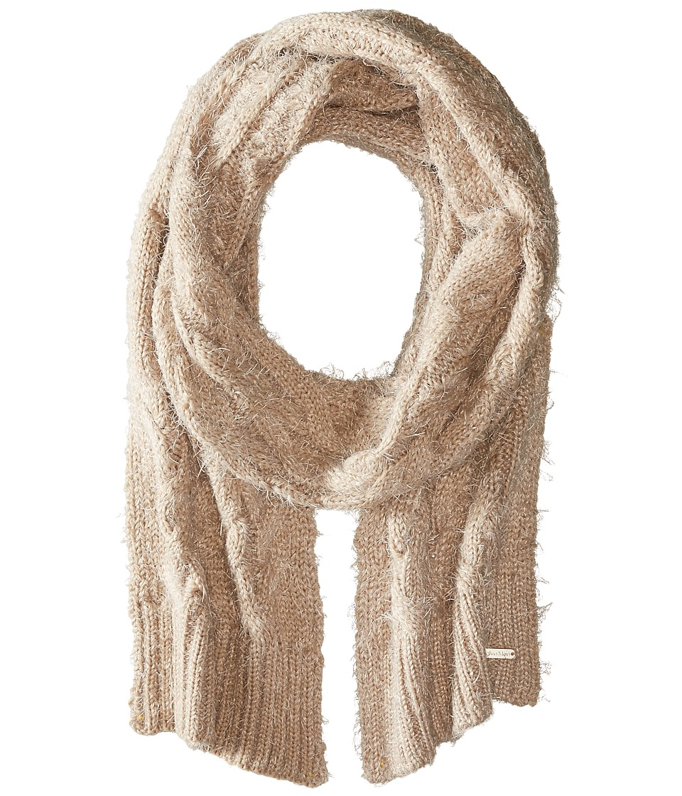 Calvin Klein - Fuzzy Cable Scarf (Heathered Almond) Scarves