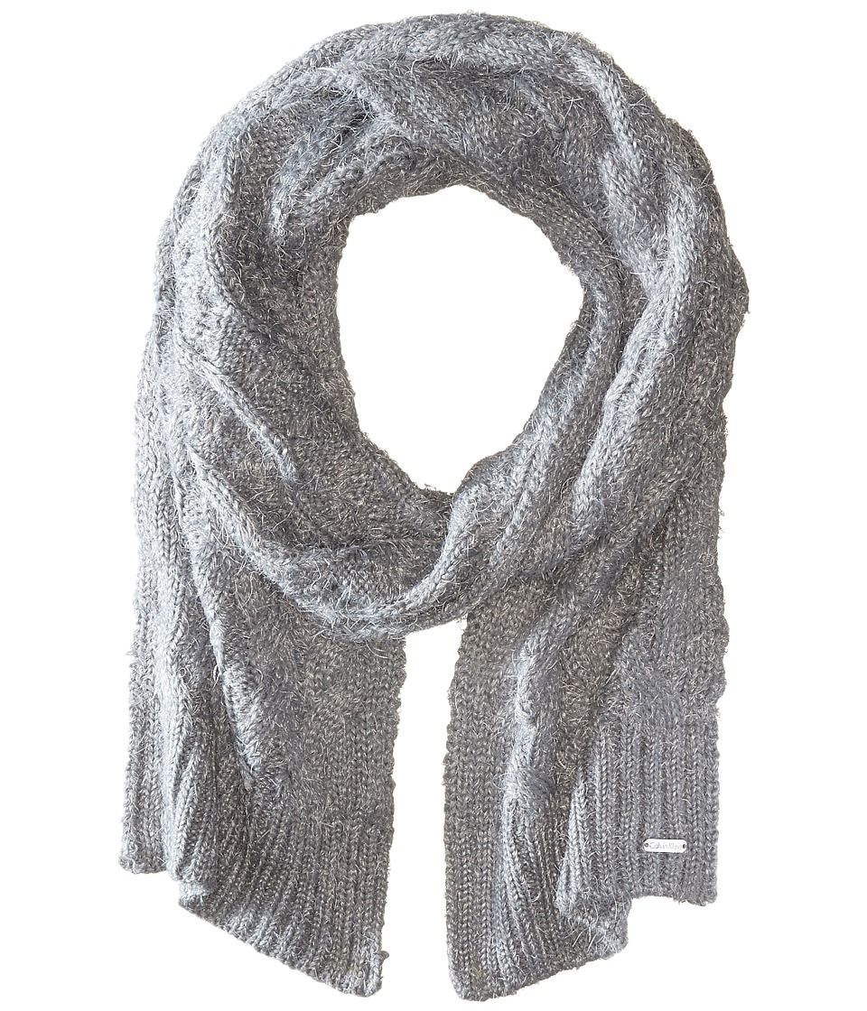 Calvin Klein - Fuzzy Cable Scarf (Heathered Mid Grey) Scarves
