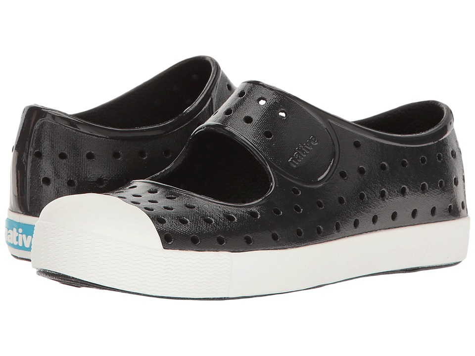 Native Kids Shoes Juniper Mary Jane Gloss (Little Kid) (Jiffy Black/Shell White/Gloss) Girls Shoes