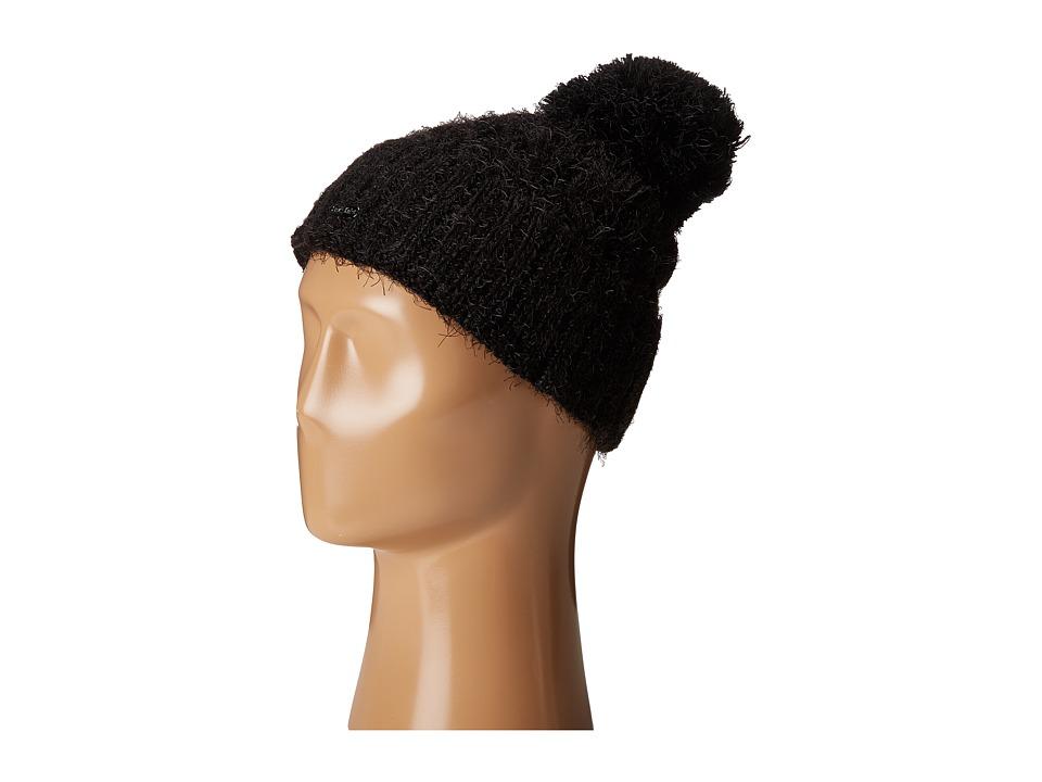 Calvin Klein - Fuzzy Cable Slouchy Beanie (Black) Beanies