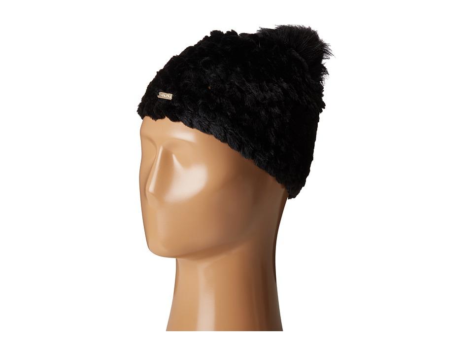 Calvin Klein - Knit Fur Pompom Beanie (Black) Beanies