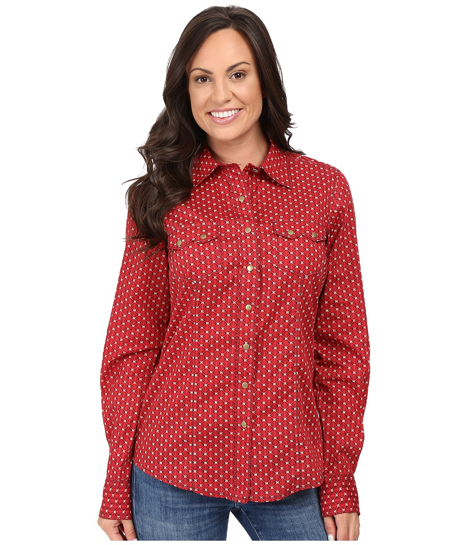 Cruel - Arena Long Sleeve Plain Weave Print (Red) Women's Clothing