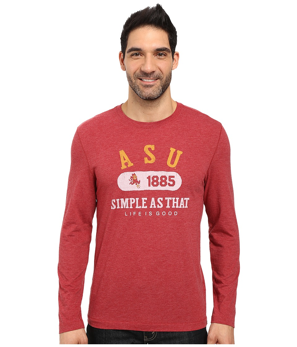 Life is Good - Dawgs Long Sleeve Tee (Red) Men's T Shirt