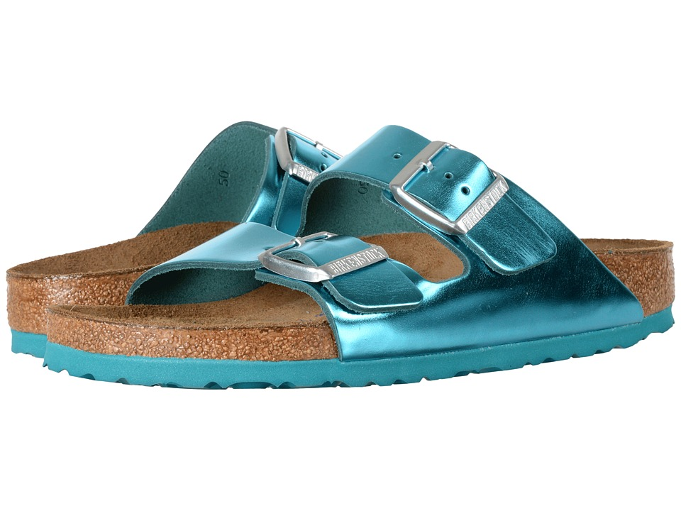 Birkenstock - Arizona Soft Footbed (Metallic Green Leather) Women's Shoes