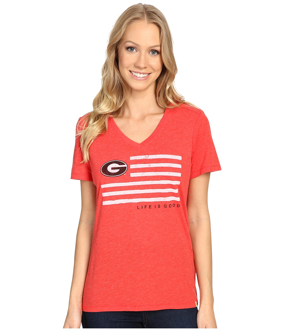Life is good - Georgia Flag Cool Vee (Red) Women's T Shirt